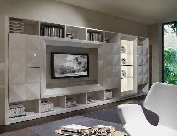 Parete Attrezzata Moderna : Contemporary TV wall unit / lacquered ...